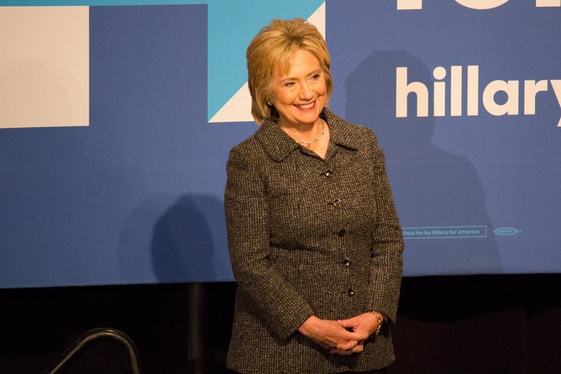 Hillary Clinton acknowledges the endorsement of the Brady Campaign to End Gun Violence as its president introduces her in Ames Tuesday.