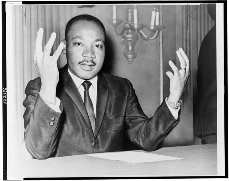 Rev. Martin Luther King, Jr. during at Nov. 6, 1964 press conference.