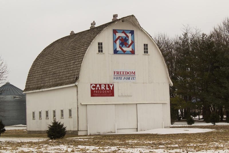 Many Iowans take their role as first-in-the-nation voters during the presidential nominating process very seriously. This barn in Central Iowa is just one among many, many farmscapes displaying support for a presidential candidate.