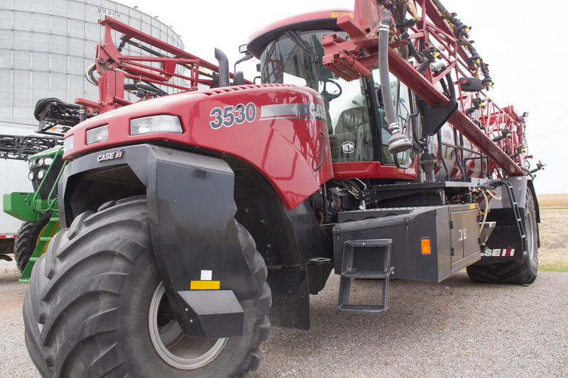 This Case IH floater can spread fertilizer without compacting soil. Key Cooperative in Roland has offered it up for others to use via a sharing site, MachineryLink.com.