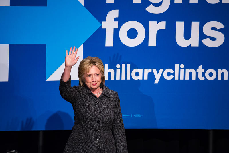 Democratic presidential candidate Hillary Clinton waves to the crowd at an event in Ames, where she picked up the endorsement of the Brady Campaign to Prevent Gun Violence.