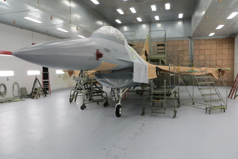 A newly-painted F-16 is ready for final markings to be applied.