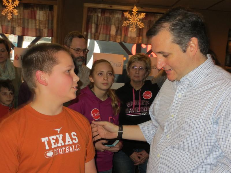 Texas Senator Ted Cruz meets with supporters during a campaign stop in Manchester Monday.