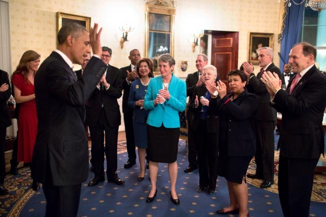 Good President Barack Obama Acknowledges Applause From Cabinet Members At A  Reception In The Blue Room After His State Of The Union Address At The U.S.  Capitol ...