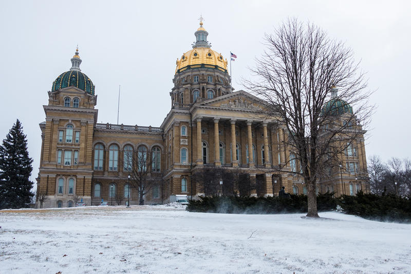 Iowa capitol on a windy and snowy morning.