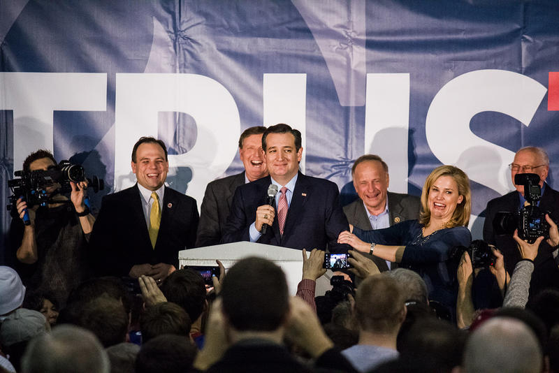 Senator Ted Cruz addresses his supporters after winning the Republican Iowa Caucuses. 2/1/2016
