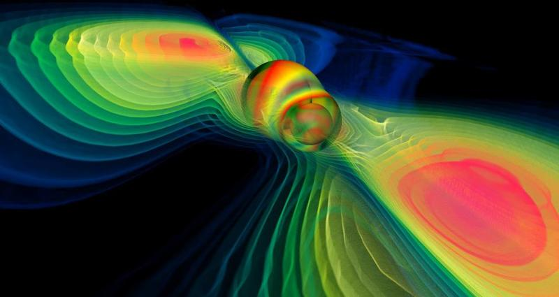 Numerical simulation of two merging black holes performed by the Albert Einstein Institute in Germany: what this rendition shows through colors is the degree of perturbation of the spacetime fabric, the so-called gravitational wave.