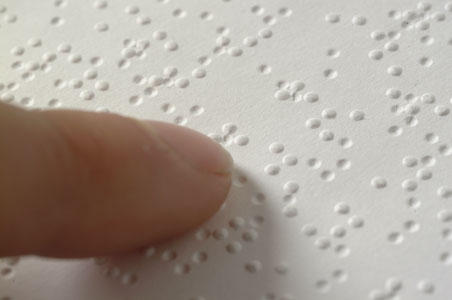a close up of braille