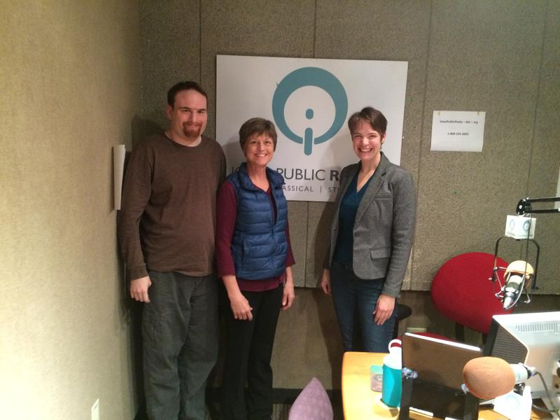 Kalvin Goodlaxen, Janet Schlapkohl and Charity Nebbe in IPR's Iowa City Studio