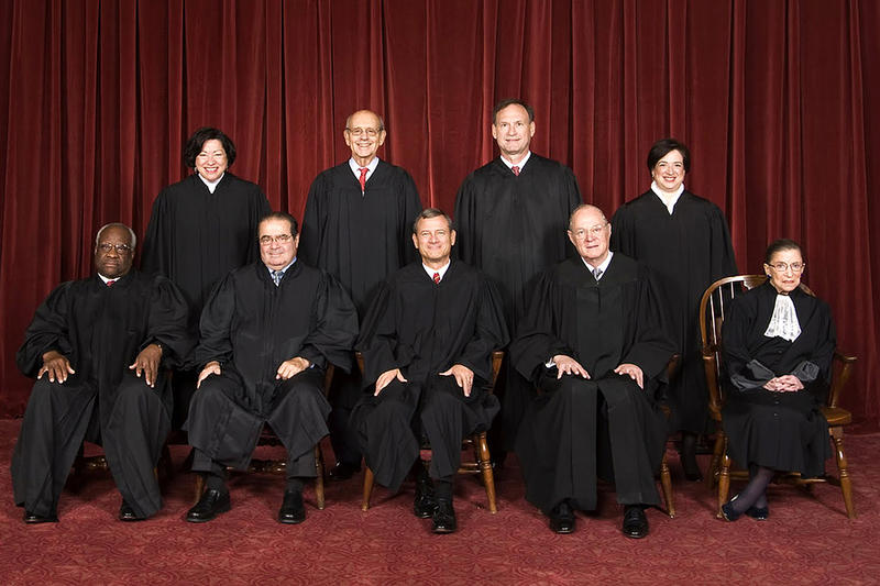 The Roberts Court, 2010 Back row (left to right): Sonia Sotomayor, Stephen G. Breyer, Samuel A. Alito, and Elena Kagan. Front row (left to right): Clarence Thomas, Antonin Scalia, Chief Justice John G. Roberts, Anthony Kennedy, and Ruth Bader Ginsburg