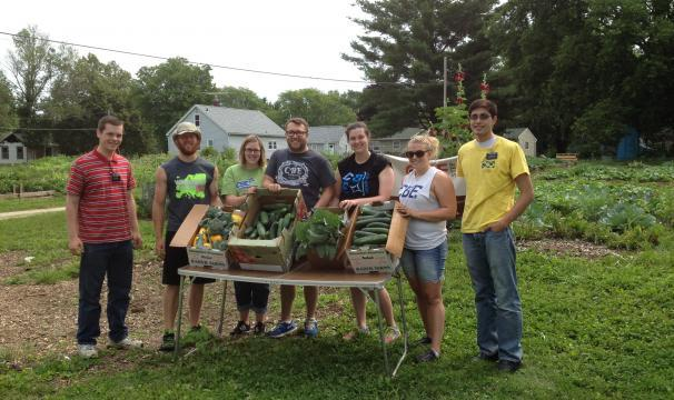 Volunteers with their harvest at the Waverly Community Sharing Garden