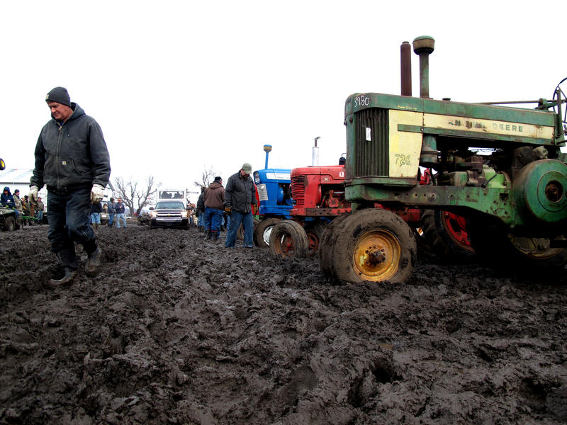 Antique tractors are ready for auction. Many farmers are selling off unused or out-of-date equipment to provide some revenue in a year when grain prices are low.