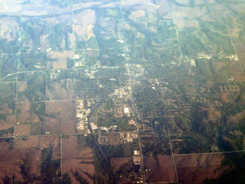 Aerial view of Indianola, IA, the county seat of Warren County.