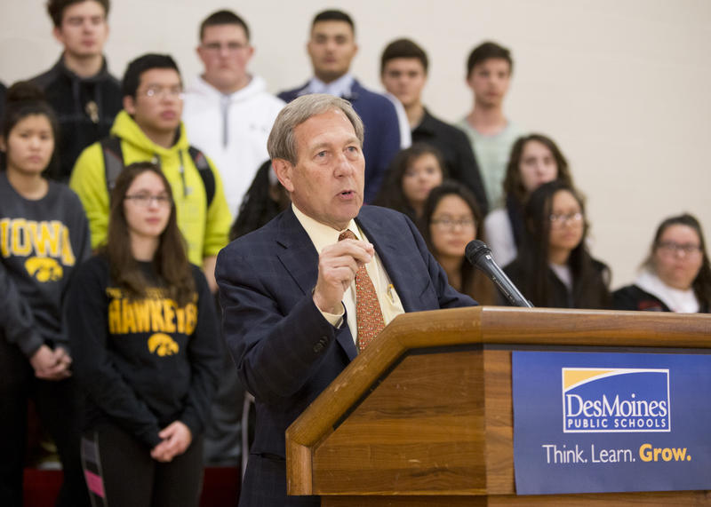 University of Iowa President Bruce Harreld announces the scholarship program at East High in Des Moines.  Announcements were also held in Cedar Falls and Waterloo.