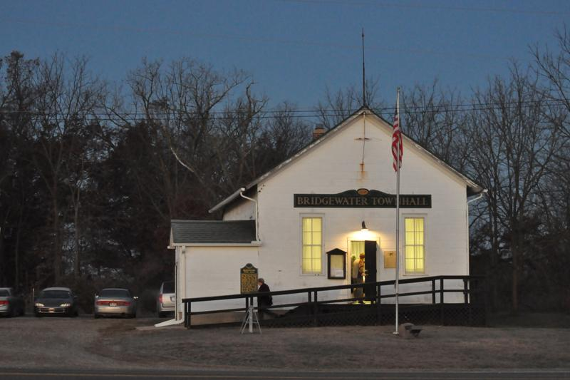 Early morning voters at Bridewater Town Hall in Michigan