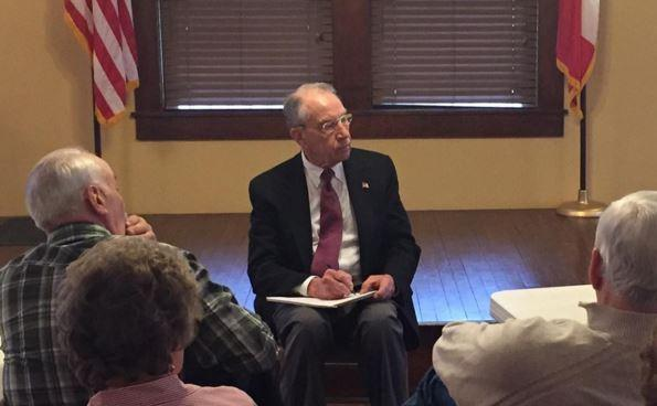 Senator Charles Grassley at a town hall meeting at the Onawa Public Library