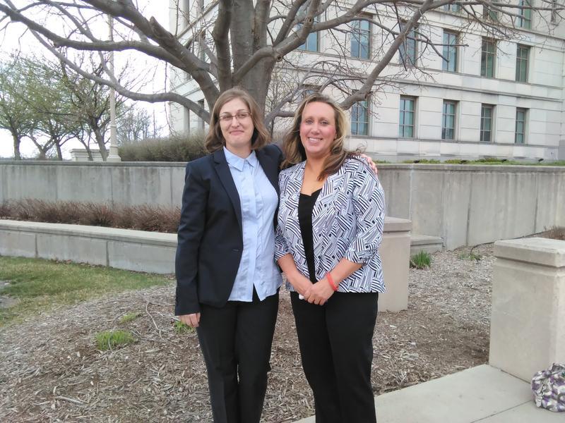 Iowa ACLU attorney Rita Bettis and Kelli Griffin.