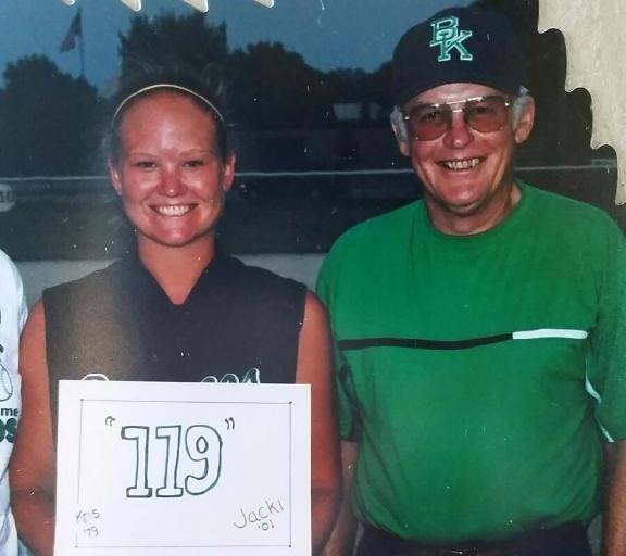 Jacki Dougherty Knight and her high school softball coach, Howard Dorman