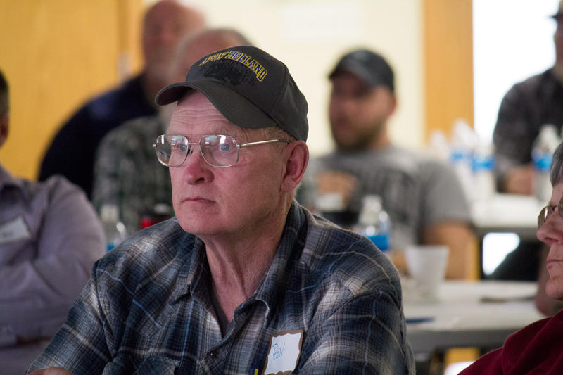 Southwest Iowa farmer Ronald Taylor listens to a presentation during the 2016 Lenox Soil Health Conference sponsored by the Taylor County Soil and Water Conservation District.