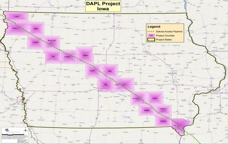 Bakken Pipeline route across Iowa.