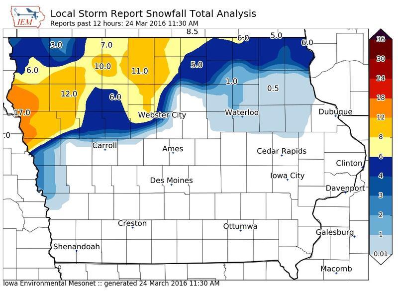 Snowfall totals as of 11:30 this morning.
