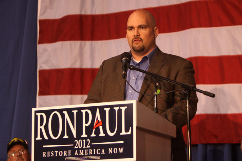 State Sen. Kent Sorrenson speaking to Ron Paul supporters at a Veterans rally in Des Moines, IA.