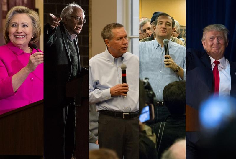 Hillary Clinton; Bernie Sanders; John Kasich; Ted Cruz; Donald Trump