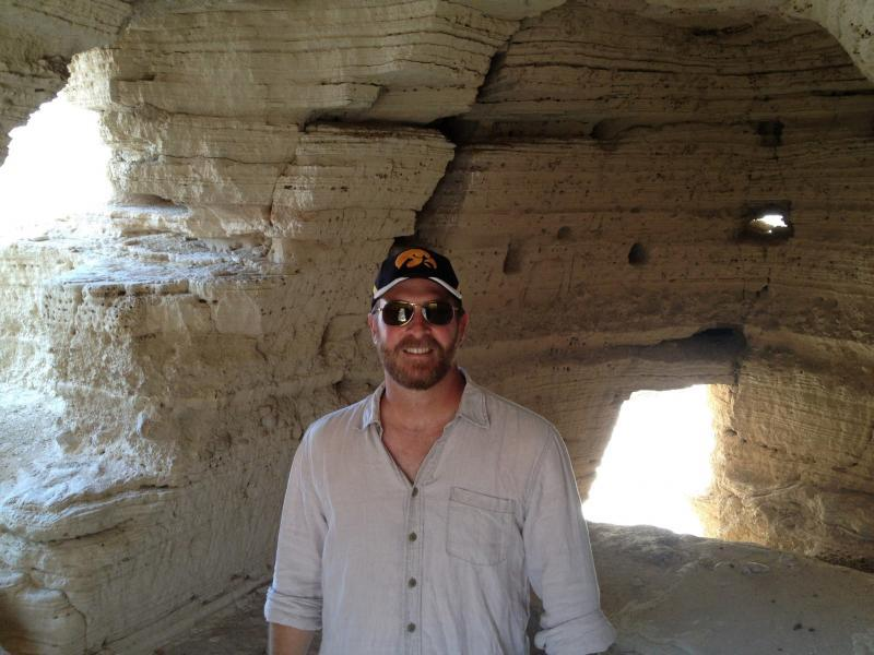 Robert Cargill in Qumran Cave 4, the most famous of the Dead Sea Scroll caves