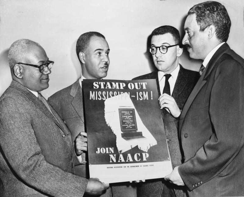 Four of the most active leaders in the NAACP movement, from left: Henry L. Moon, director of public relations; Roy Wilkins, executive secretary; Herbert Hill, labor secretary Thurgood Marshall, special counsel.