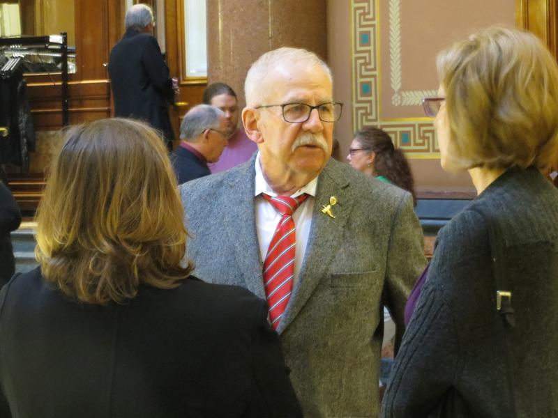 Rep. Clel Baudler (R-Greenfield) with medical marijuana activists Marie LaFrance and Sally Gaer