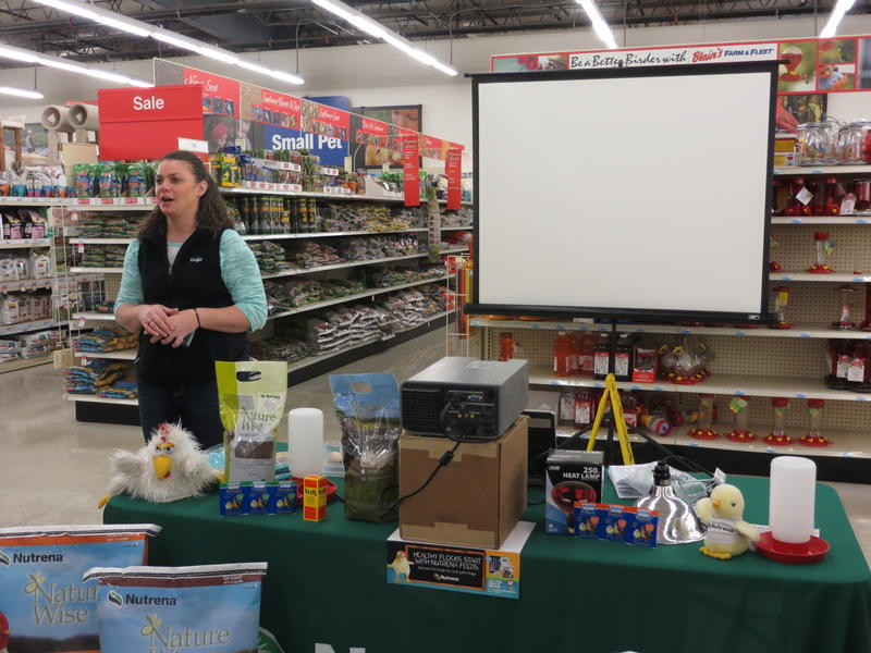 Cargill animal health specialist Jodi Holmes conducts seminars for those who have purchased new baby chicks.