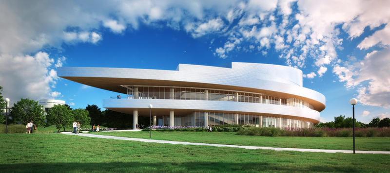 A digital rendering of the finished Hancher building