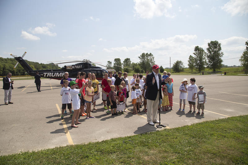 Apparent Republican presidential nominee Donald Trump holds a press conference before taking kids on helicopter rides above the Iowa State Fair. (08/15/2015)