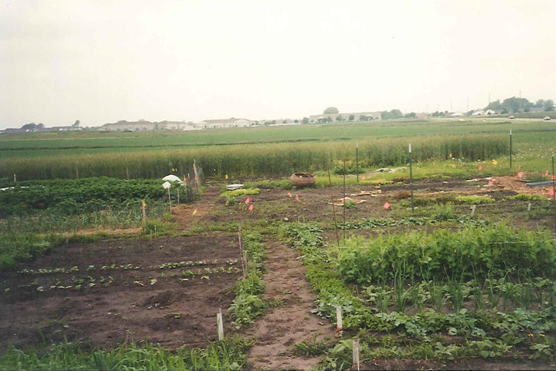 A scanned print shows the ISU Student Organic Farm in 2001.