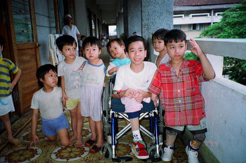 The faces of Agent Orange in Vietnam. Children receive care for assorted deformities in Ho Chi Minh City, 1994.