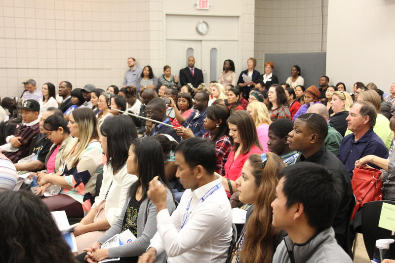 Students from more than 38 countries are represented at an English Language Learners ceremony in Waterloo Wednesday.