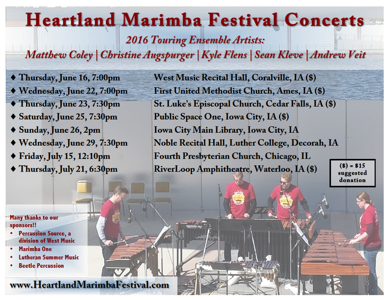 The Heartland Marimba Festival's 2016 Touring Schedule