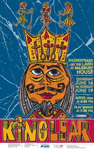 "Advertising poster for the Reperatory Theatre of Iowa's production of Shakespeare's ""King Lear"""