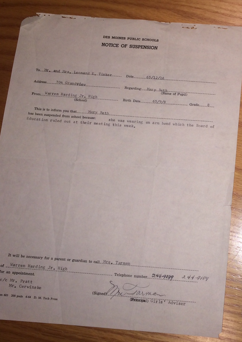 Mary Beth Tinker's letter informing her she was to be suspended from school