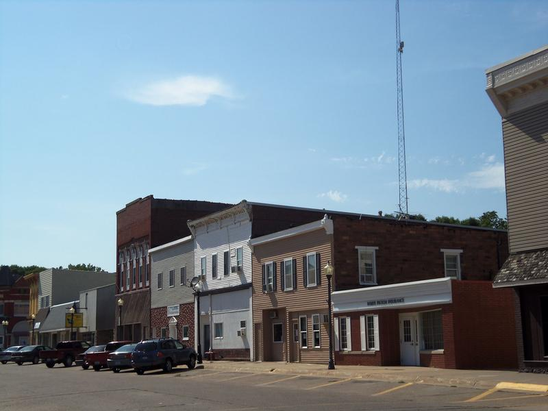 Buildings on the north side of West Fourth Street in Wilton, Iowa.