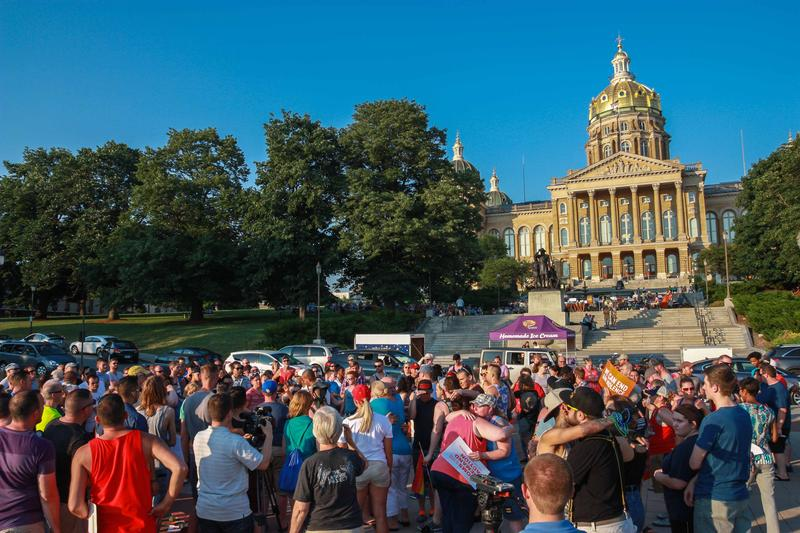 A gathering at the Iowa Capitol Sunday evening to remember the Orlando shooting victims.