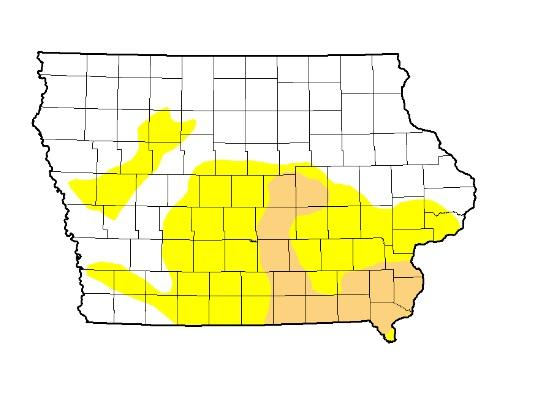 The latest U.S. Drought Monitor map shows about 44-percent of the state either abnormally dry (yellow) or in moderate drought (tan).