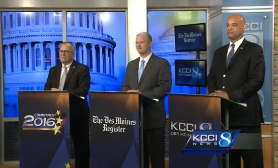 Candidates running in the 3rd District Democratic primary debated at the KCCI studios in Des Moines last month.