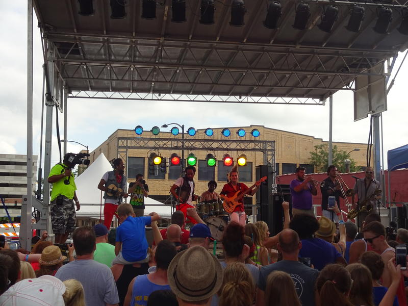 Iowa band Brazilian 2wins performing at the 2015 80/35 Music Festival.