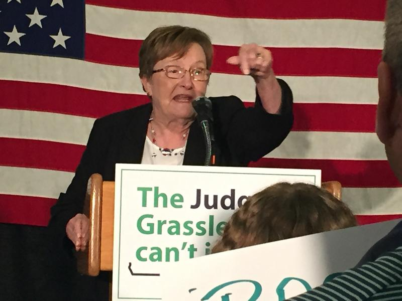 Patty Judge speaks to supporters tonight in Des Moines after winning the U.S. Senate Democratic primary.