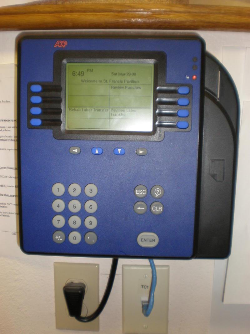 An ADP Model 4500 timecard reader