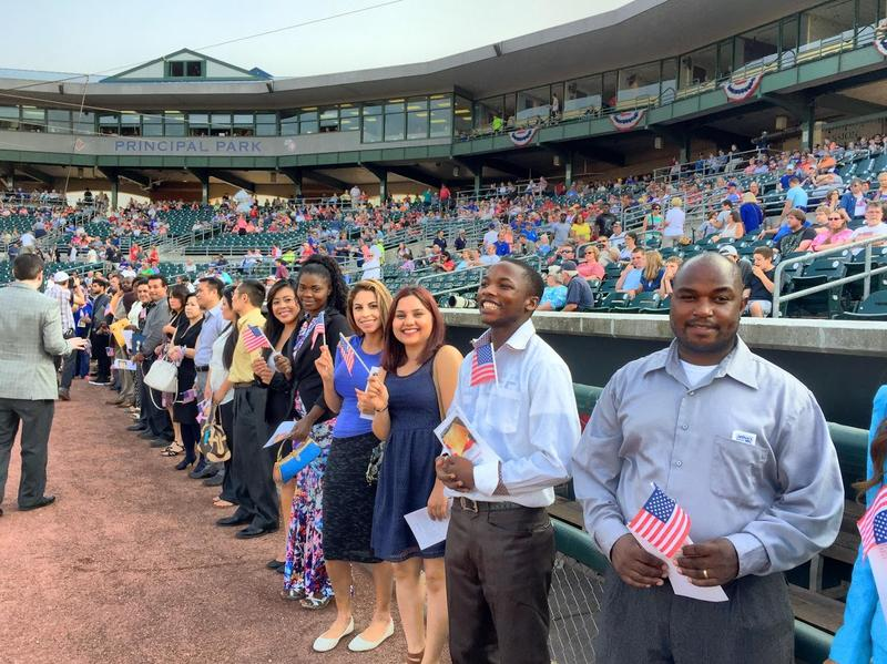 Des Moines' 2015 Independence Day Naturalization Ceremony at Principal Park