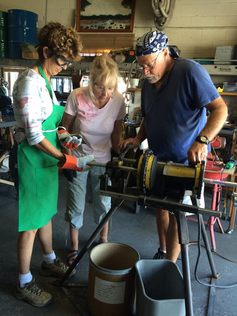 San Diego artists from North County Sculpture Salon are fabricating chimes from copper pipe and other materials.