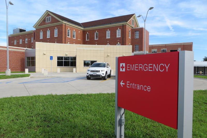 The new ER sits in front of the original Veterans hospital.
