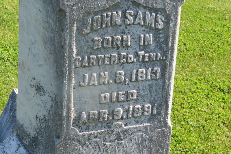 Sams Cemetery is named after John Sams, who died of measles.